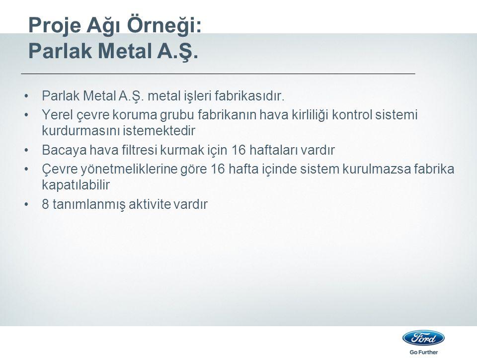 Proje Ağı Örneği: Parlak Metal A.Ş.