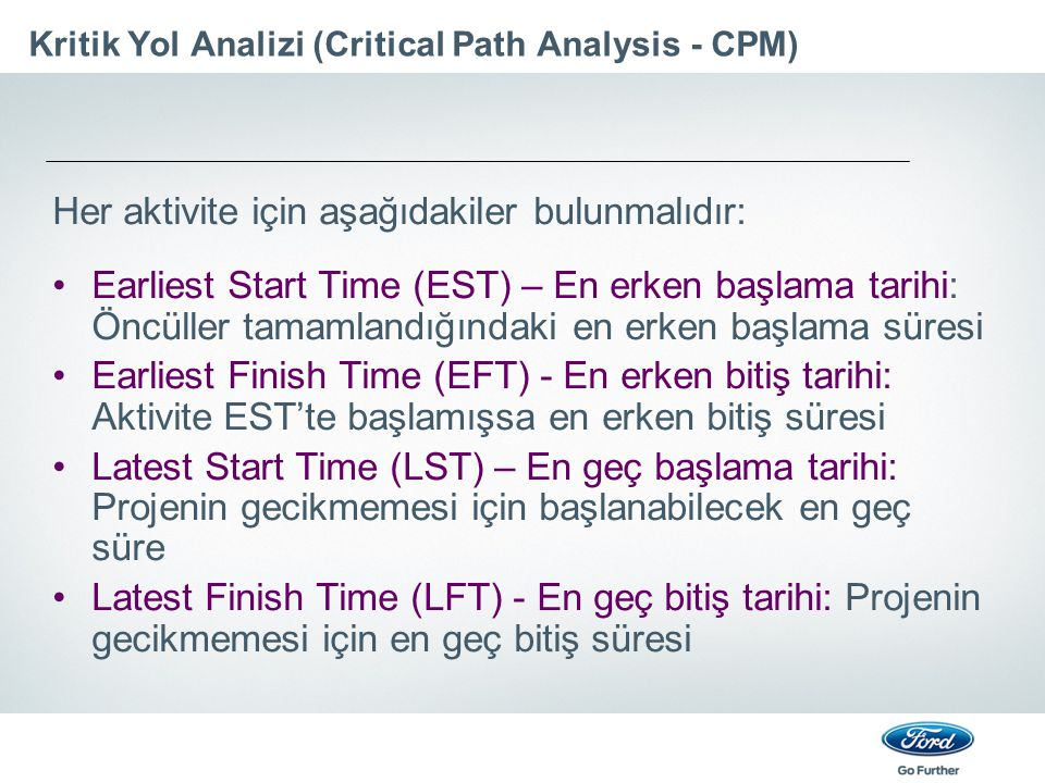 Kritik Yol Analizi (Critical Path Analysis - CPM)