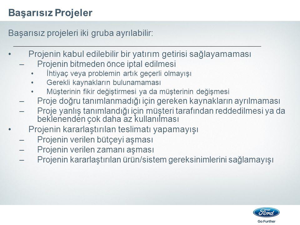 Başarısız Projeler Başarısız projeleri iki gruba ayrılabilir: