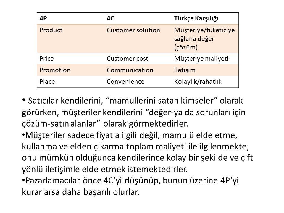 4P 4C. Türkçe Karşılığı. Product. Customer solution. Müşteriye/tüketiciye sağlana değer (çözüm)