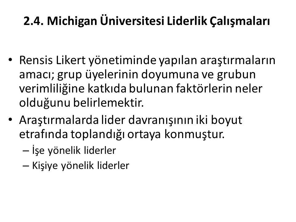 2.4. Michigan Üniversitesi Liderlik Çalışmaları