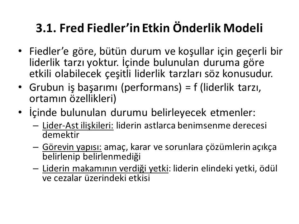 3.1. Fred Fiedler'in Etkin Önderlik Modeli
