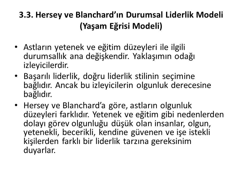 3.3. Hersey ve Blanchard'ın Durumsal Liderlik Modeli (Yaşam Eğrisi Modeli)