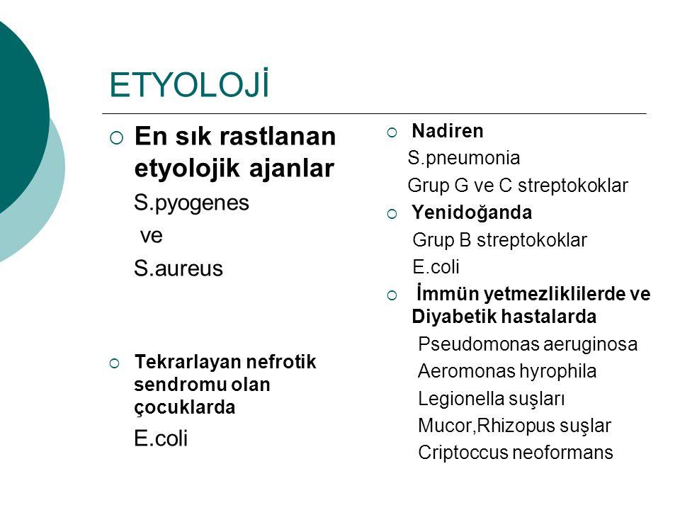 ETYOLOJİ En sık rastlanan etyolojik ajanlar S.pyogenes ve S.aureus