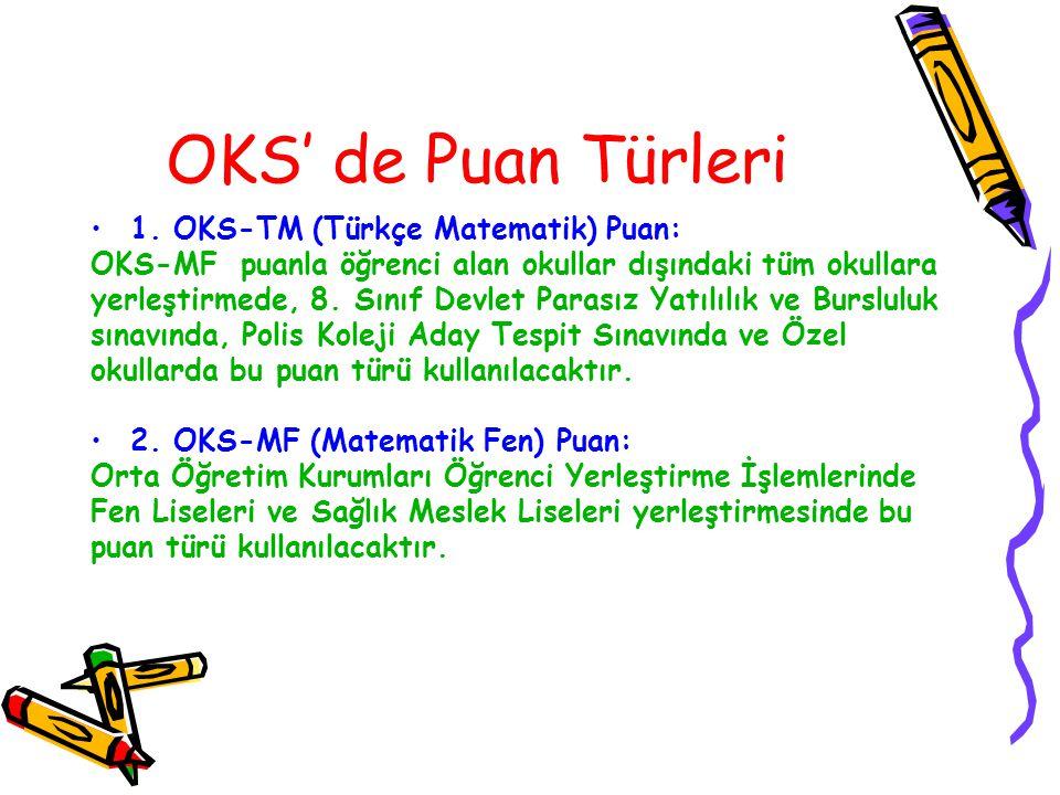 OKS' de Puan Türleri 1. OKS-TM (Türkçe Matematik) Puan:
