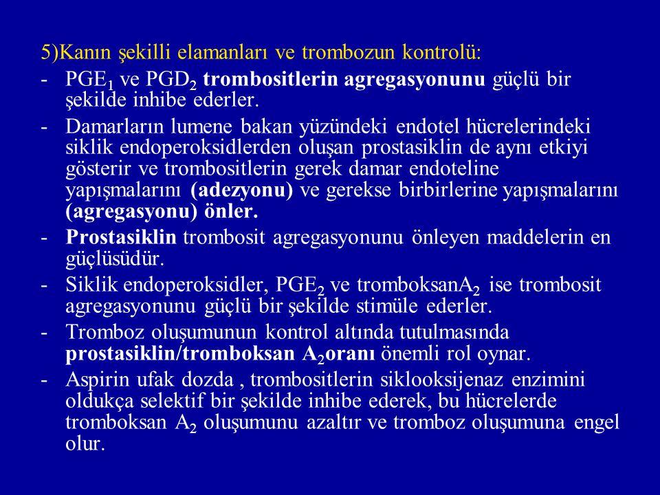 5)Kanın şekilli elamanları ve trombozun kontrolü: