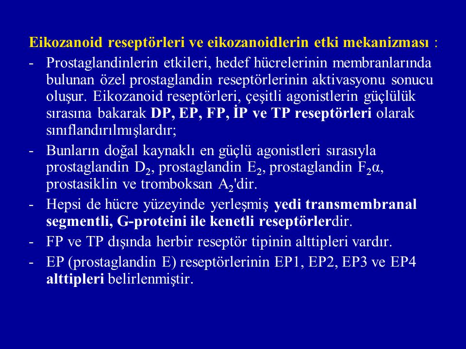 Eikozanoid reseptörleri ve eikozanoidlerin etki mekanizması :