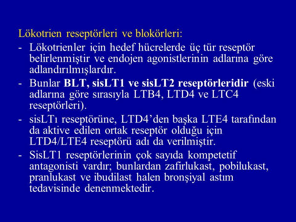 Lökotrien reseptörleri ve blokörleri: