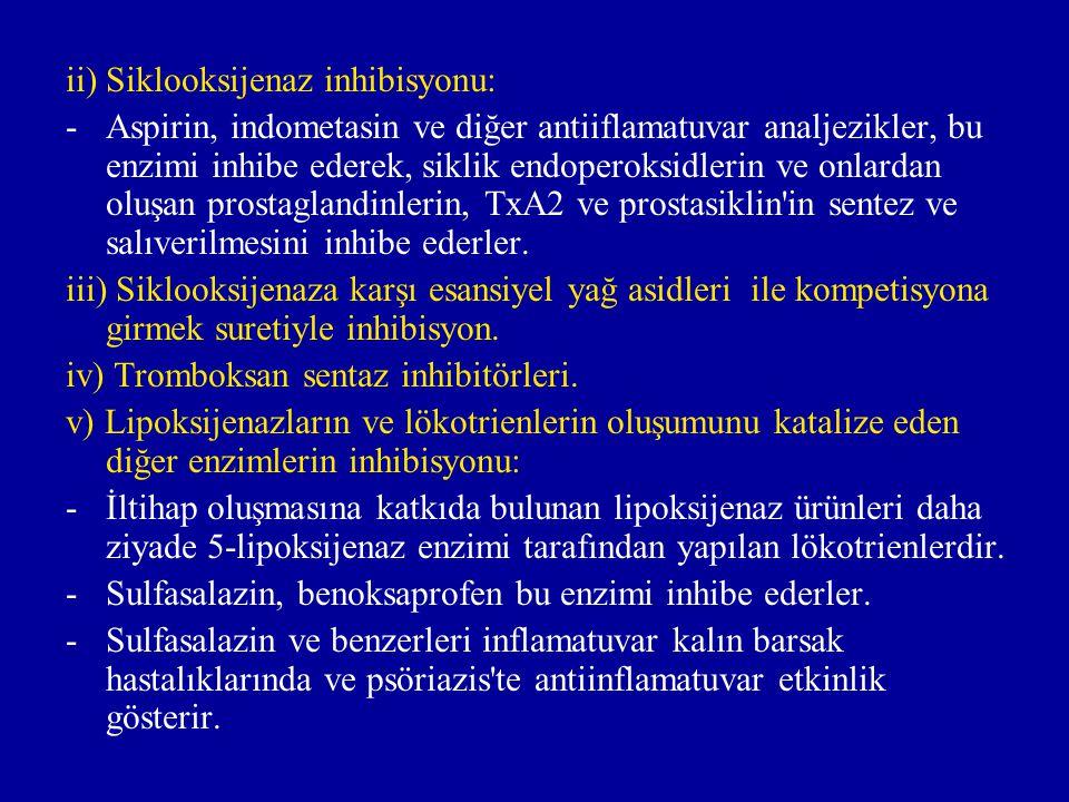 ii) Siklooksijenaz inhibisyonu: