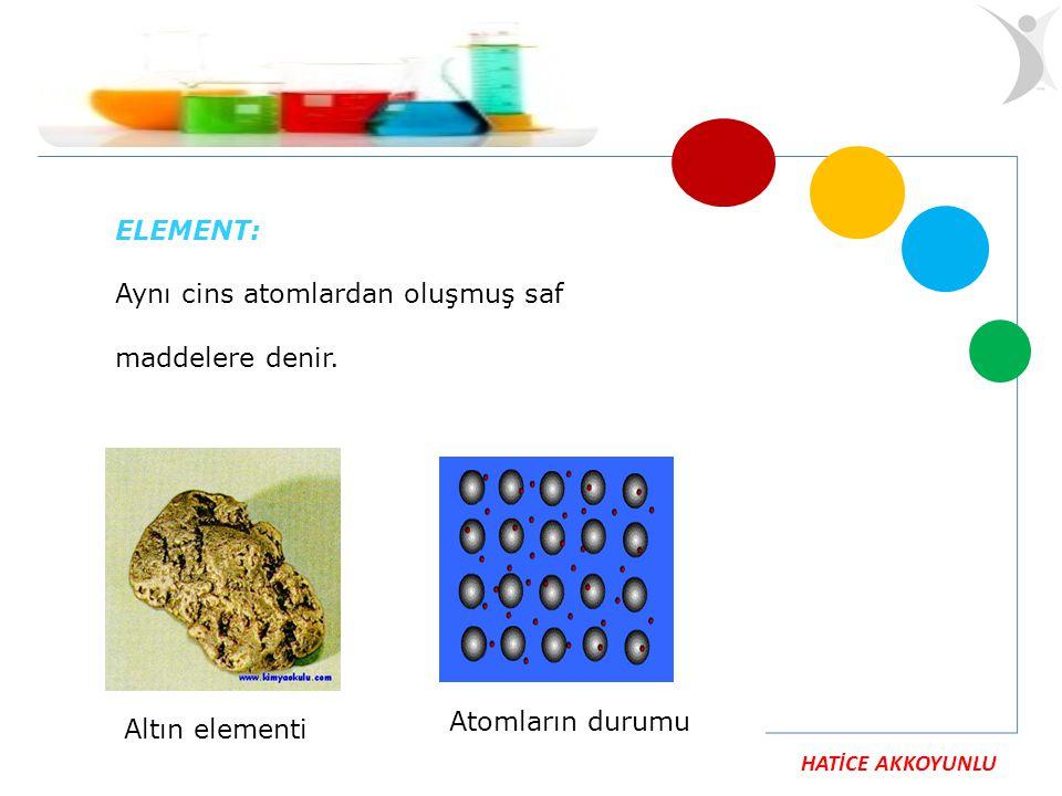 ELEMENT: Aynı cins atomlardan oluşmuş saf maddelere denir. Atomların durumu Altın elementi
