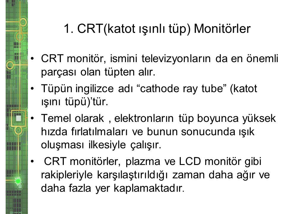 1. CRT(katot ışınlı tüp) Monitörler