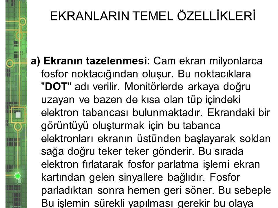 EKRANLARIN TEMEL ÖZELLİKLERİ