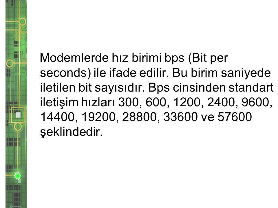 Modemlerde hız birimi bps (Bit per seconds) ile ifade edilir