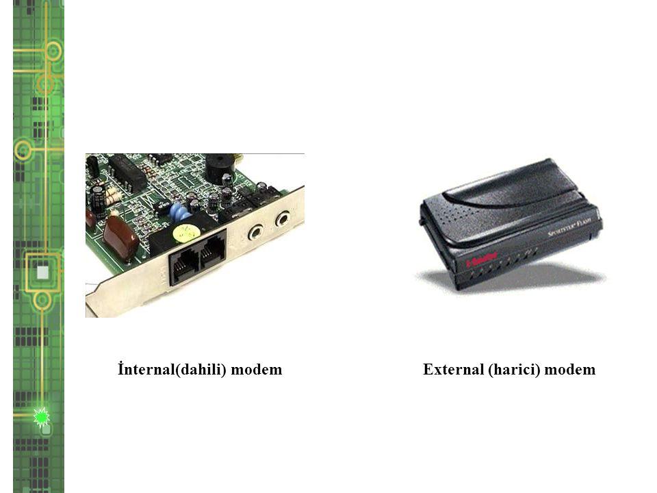 İnternal(dahili) modem External (harici) modem