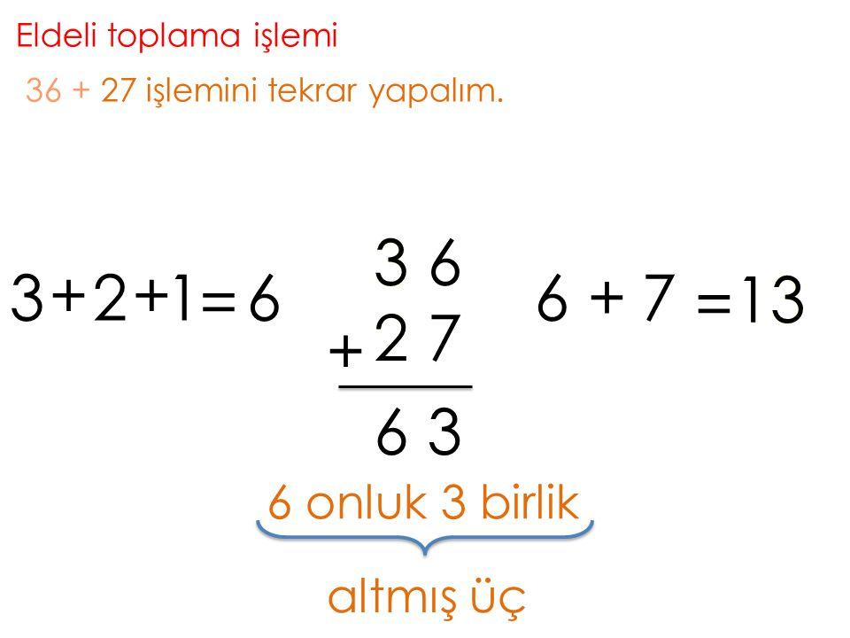 Eldeli toplama işlemi 36 + 27 işlemini tekrar yapalım. 3. 3. 6. 3. + 2. + 1. = 6. 6. + 7.