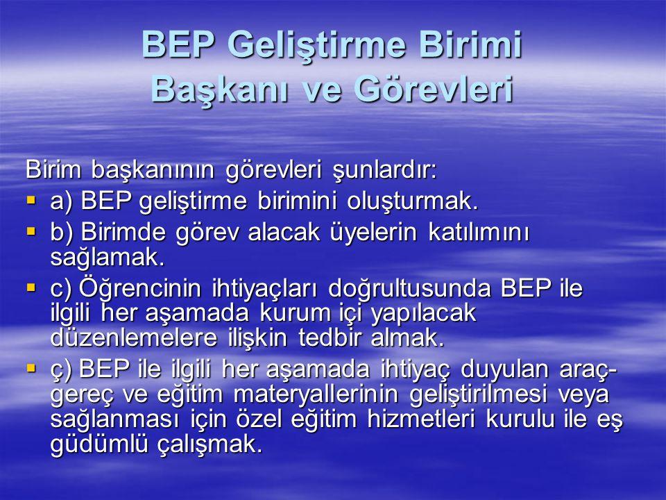 BEP Geliştirme Birimi Başkanı ve Görevleri
