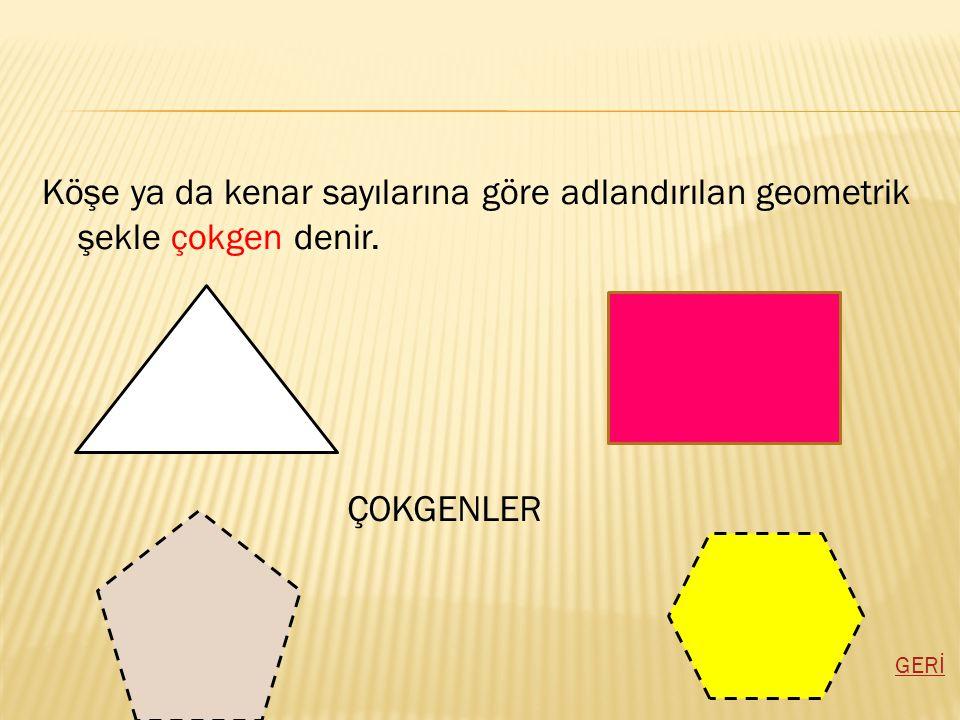 Köşe ya da kenar sayılarına göre adlandırılan geometrik şekle çokgen denir.