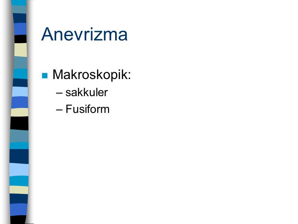 Anevrizma Makroskopik: sakkuler Fusiform