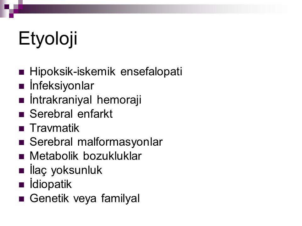 Etyoloji Hipoksik-iskemik ensefalopati İnfeksiyonlar