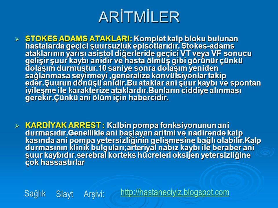 ARİTMİLER Sağlık http://hastaneciyiz.blogspot.com Slayt Arşivi: