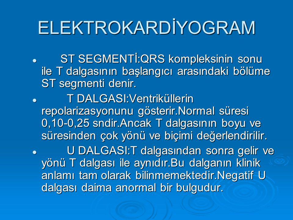 ELEKTROKARDİYOGRAM ST SEGMENTİ:QRS kompleksinin sonu ile T dalgasının başlangıcı arasındaki bölüme ST segmenti denir.