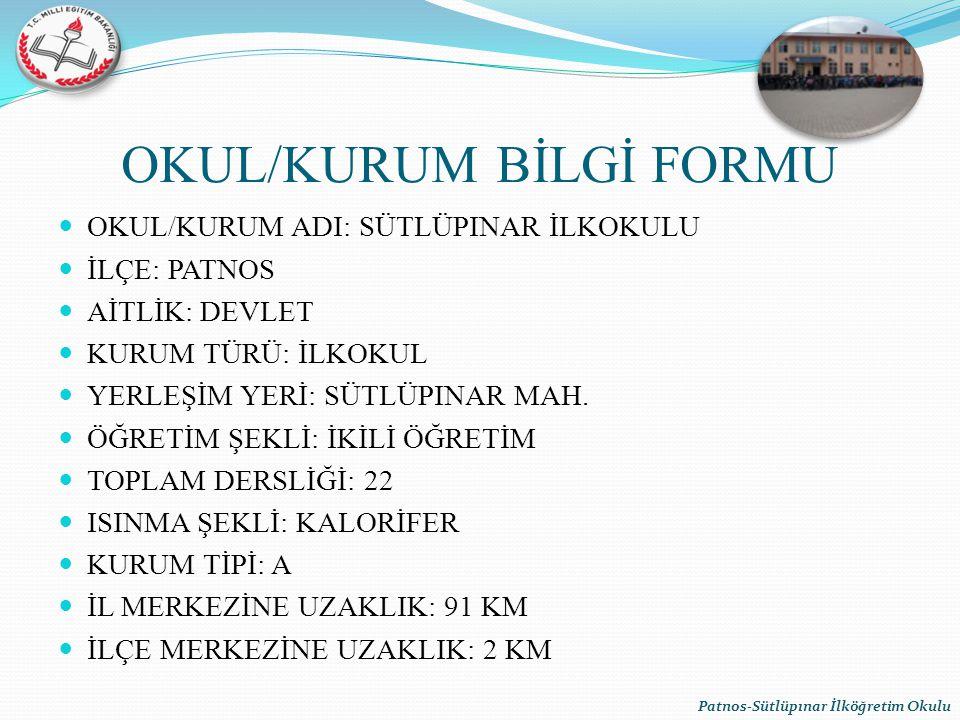 OKUL/KURUM BİLGİ FORMU