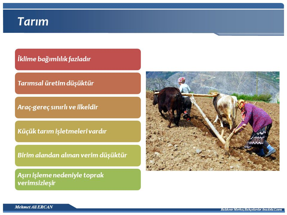 Tarım İklime bağımlılık fazladır Tarımsal üretim düşüktür