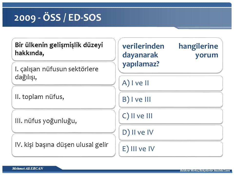 2009 - ÖSS / ED-SOS A) I ve II B) I ve III C) II ve III D) II ve IV