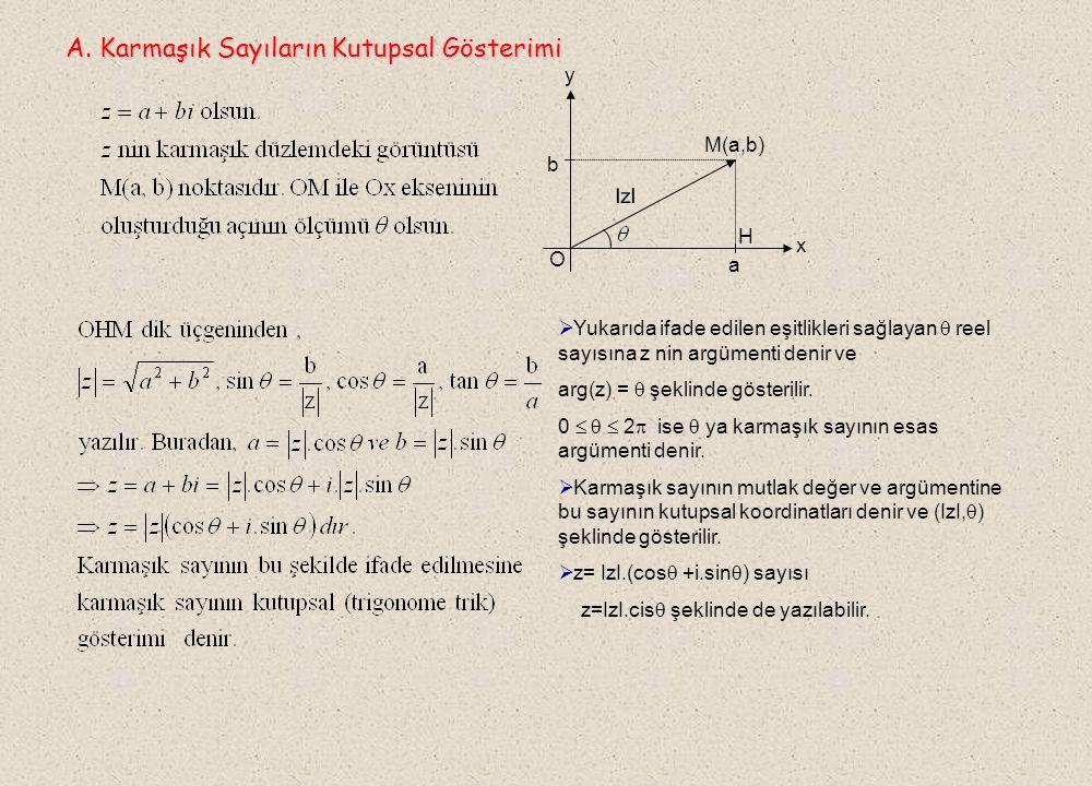 . A. Karmaşık Sayıların Kutupsal Gösterimi y M(a,b) b IzI H x O a
