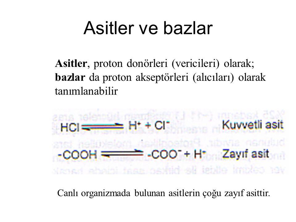 Asitler ve bazlar Asitler, proton donörleri (vericileri) olarak; bazlar da proton akseptörleri (alıcıları) olarak tanımlanabilir.