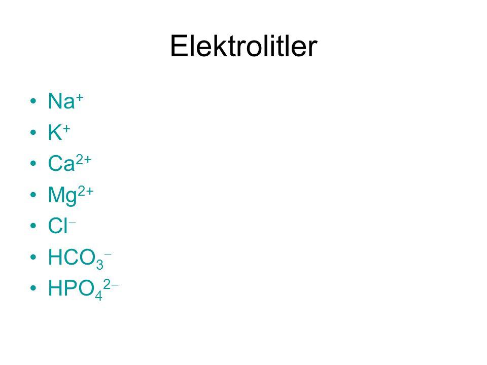 Elektrolitler Na+ K+ Ca2+ Mg2+ Cl HCO3 HPO42