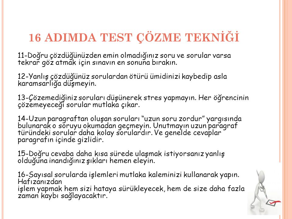 16 ADIMDA TEST ÇÖZME TEKNİĞİ