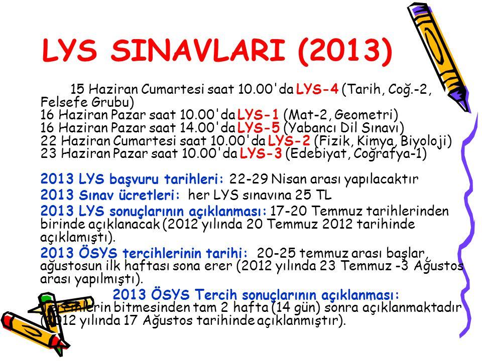 LYS SINAVLARI (2013) 2013 Sınav ücretleri: her LYS sınavına 25 TL