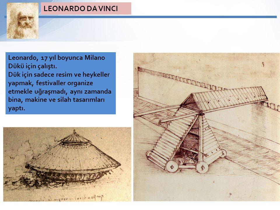 LEONARDO DA VINCI Leonardo, 17 yıl boyunca Milano Dükü için çalıştı.