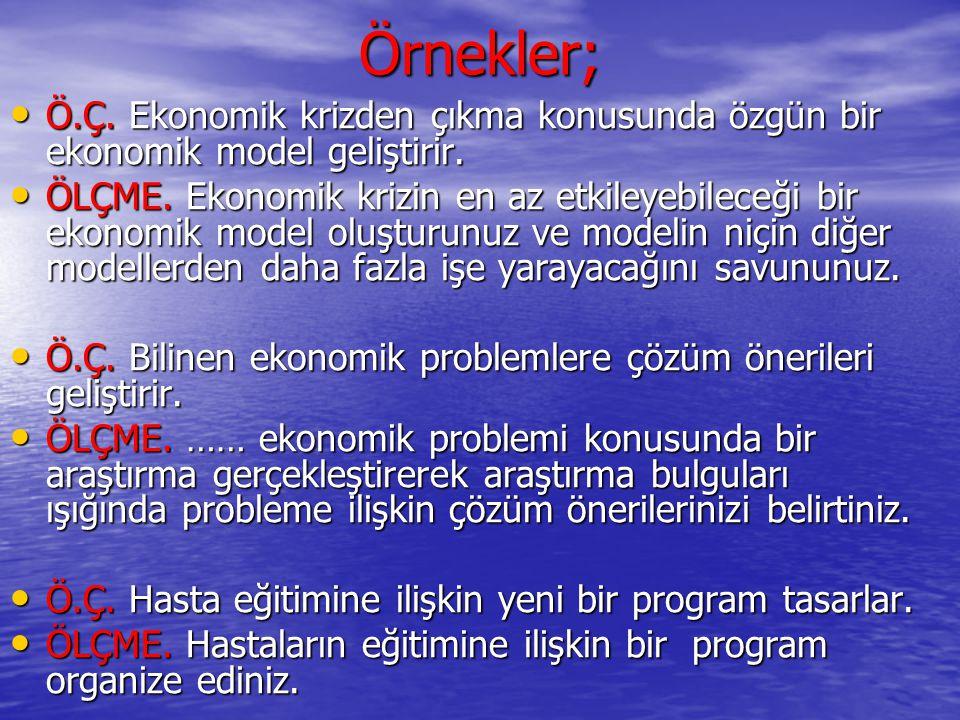 Örnekler; Ö.Ç. Ekonomik krizden çıkma konusunda özgün bir ekonomik model geliştirir.