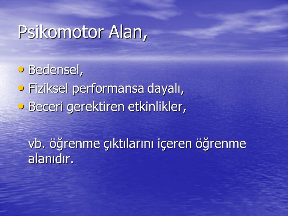 Psikomotor Alan, Bedensel, Fiziksel performansa dayalı,