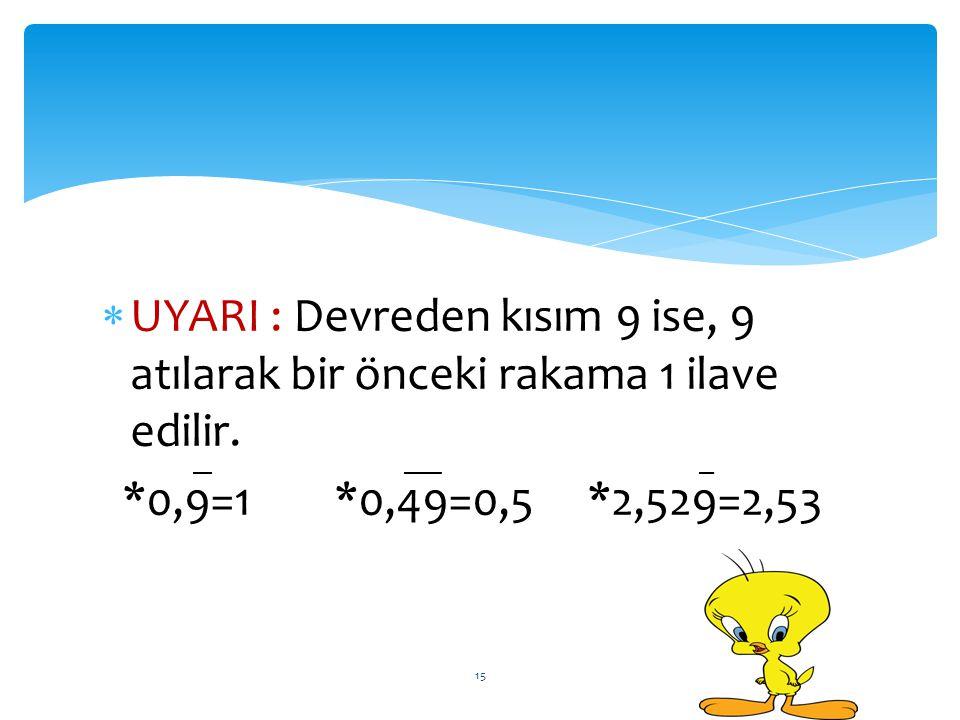 UYARI : Devreden kısım 9 ise, 9 atılarak bir önceki rakama 1 ilave edilir.