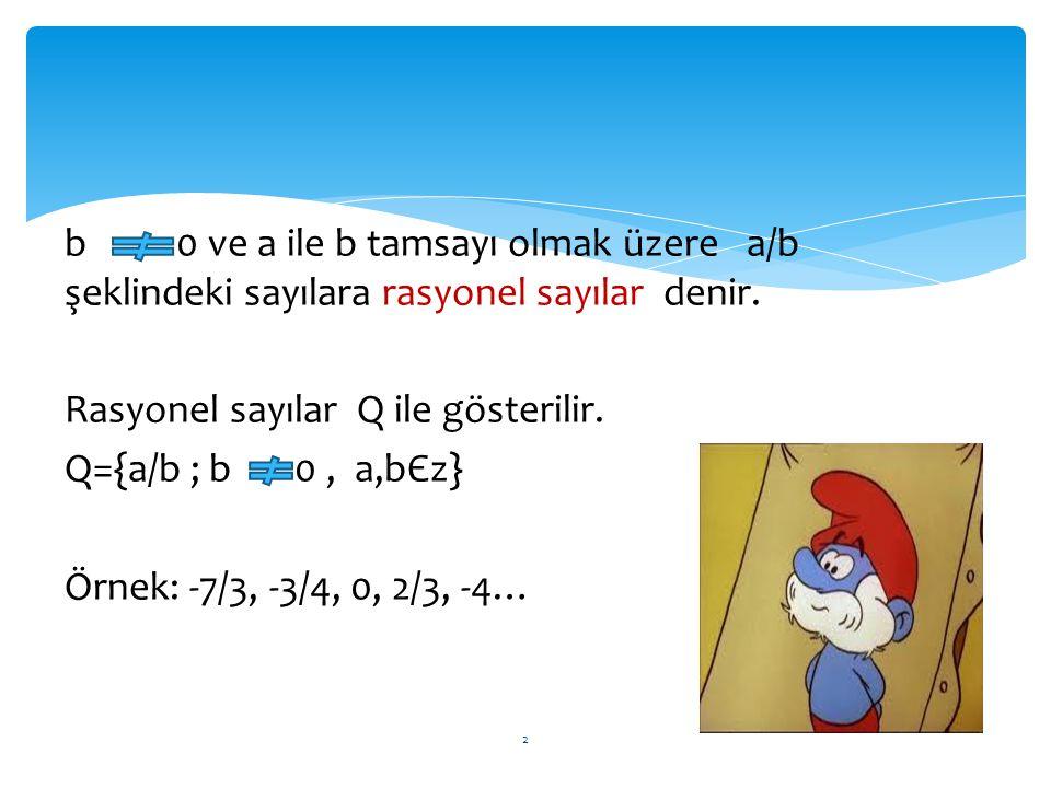 b 0 ve a ile b tamsayı olmak üzere a/b şeklindeki sayılara rasyonel sayılar denir.