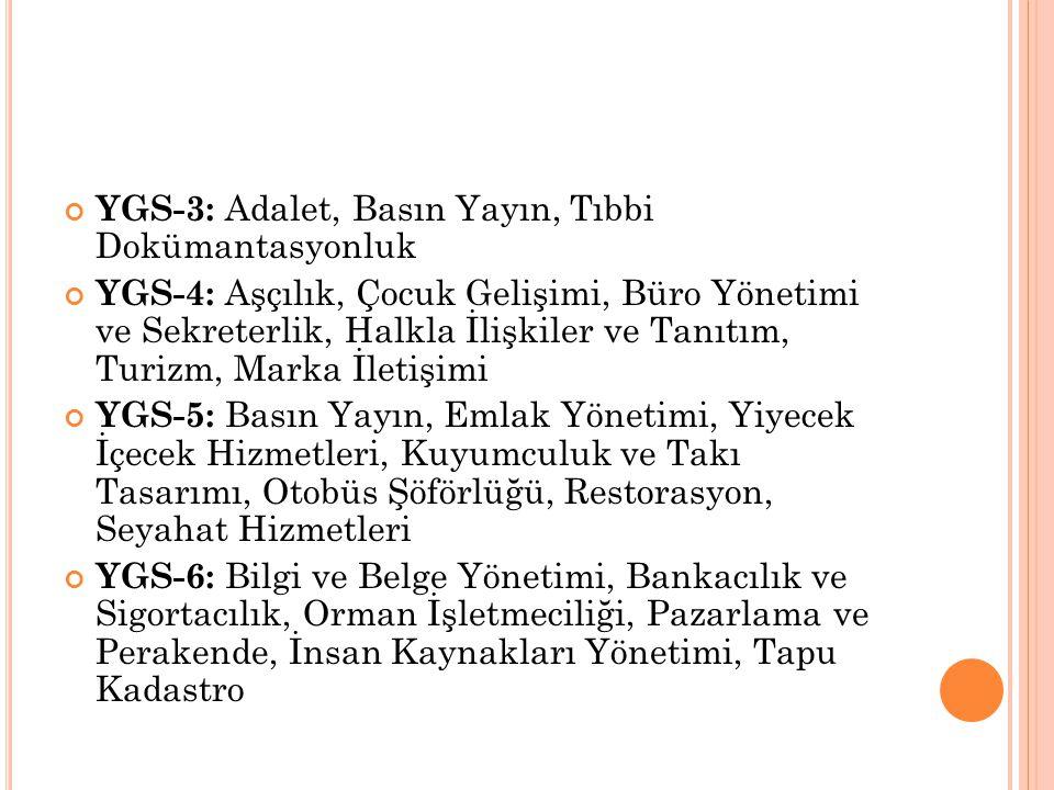 YGS-3: Adalet, Basın Yayın, Tıbbi Dokümantasyonluk
