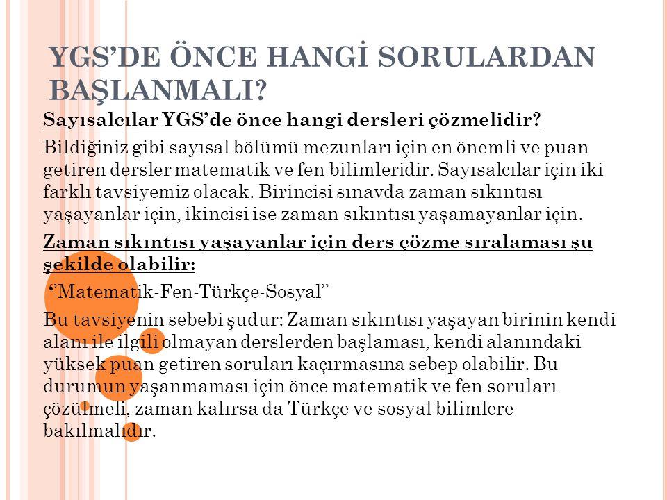 YGS'DE ÖNCE HANGİ SORULARDAN BAŞLANMALI