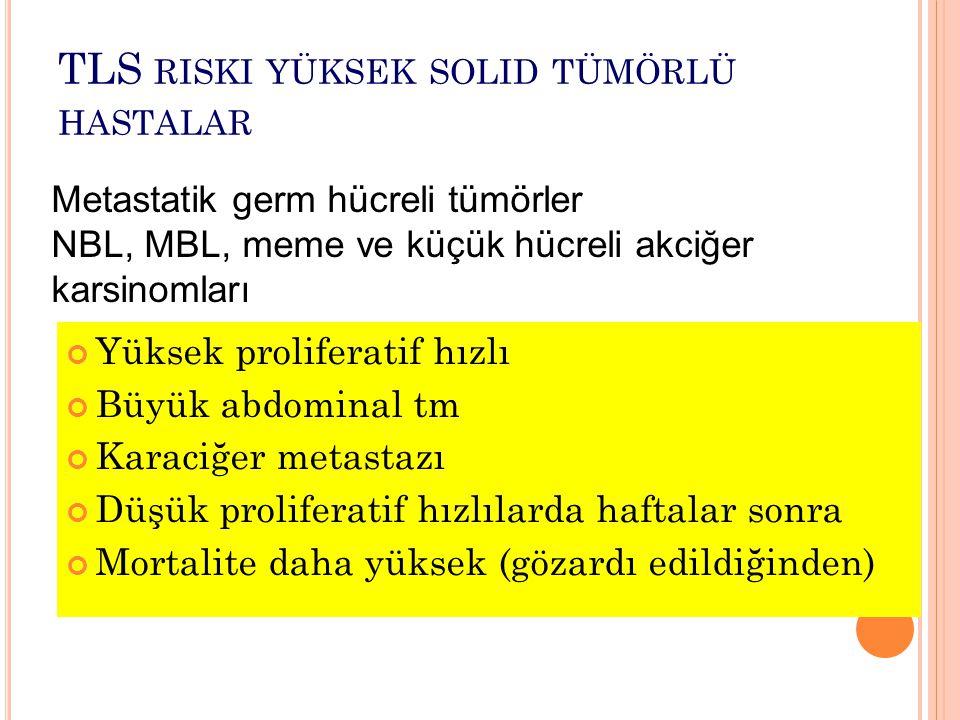 TLS riski yüksek solid tümörlü hastalar
