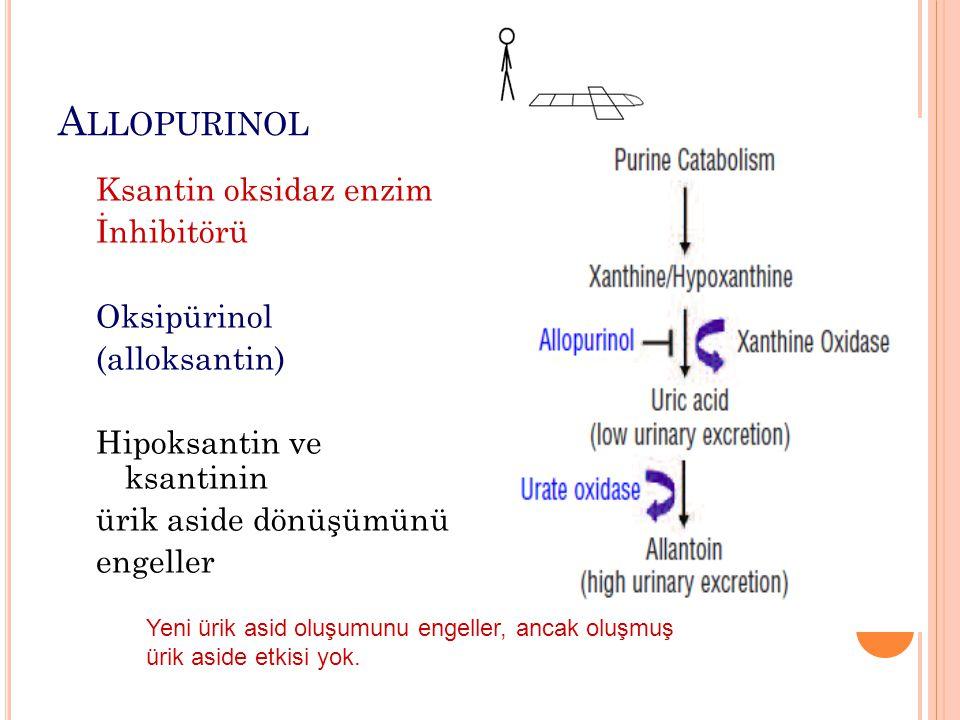 Allopurinol Ksantin oksidaz enzim İnhibitörü Oksipürinol (alloksantin)