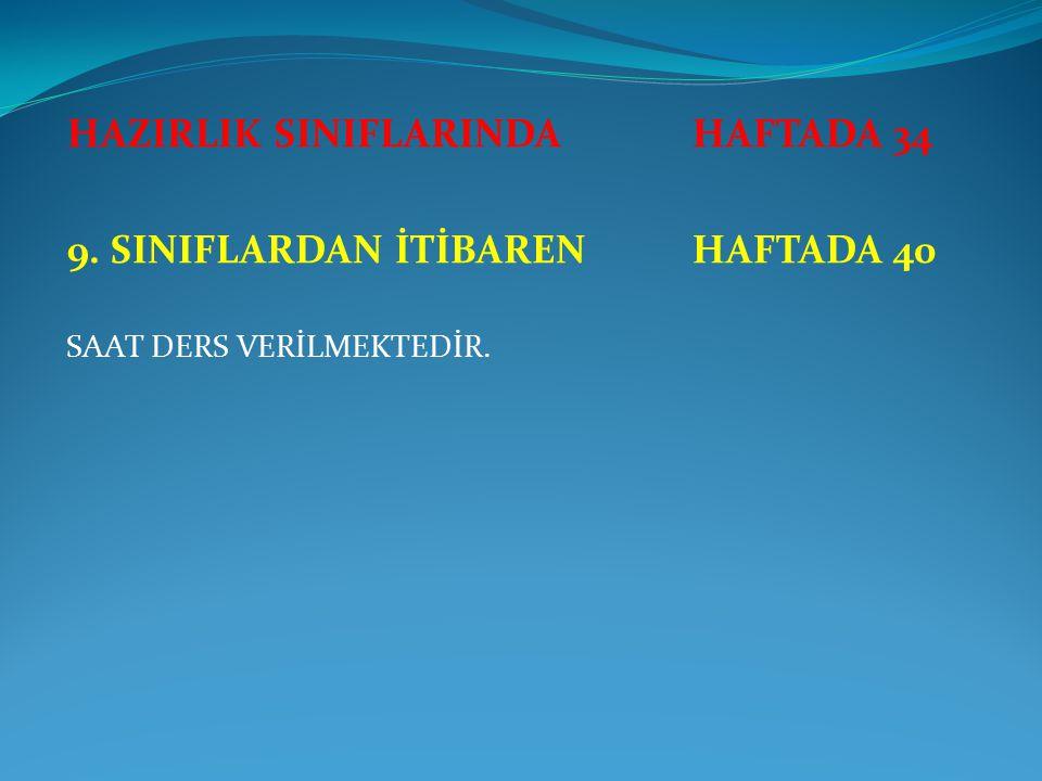 HAZIRLIK SINIFLARINDA HAFTADA 34 9. SINIFLARDAN İTİBAREN HAFTADA 40