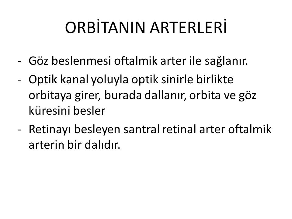 ORBİTANIN ARTERLERİ Göz beslenmesi oftalmik arter ile sağlanır.