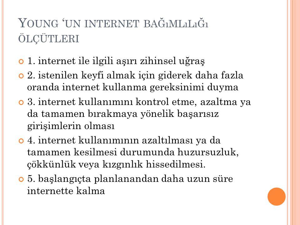 Young 'un internet bağımlılığı ölçütleri