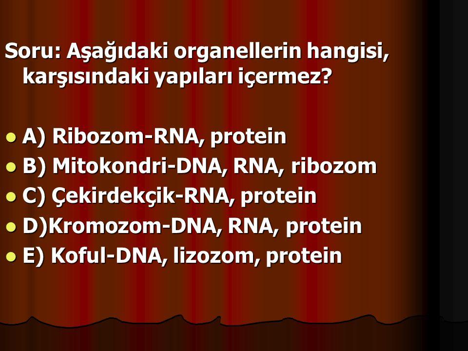 Soru: Aşağıdaki organellerin hangisi, karşısındaki yapıları içermez