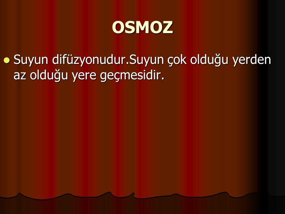OSMOZ Suyun difüzyonudur.Suyun çok olduğu yerden az olduğu yere geçmesidir.