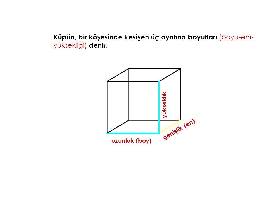Küpün, bir köşesinde kesişen üç ayrıtına boyutları (boyu-eni-yüksekliği) denir.