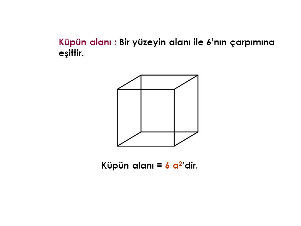 Küpün alanı : Bir yüzeyin alanı ile 6'nın çarpımına eşittir.