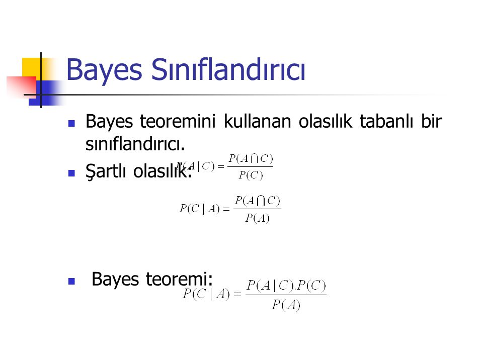 Bayes Sınıflandırıcı Bayes teoremini kullanan olasılık tabanlı bir sınıflandırıcı. Şartlı olasılık: